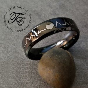 Mens Heartbeat Wedding Band or Promise Ring